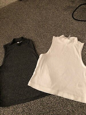 H&M Crop Tops Size small Grey And White X2 BNWOT x1