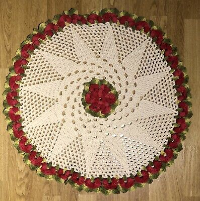 Handmade crochet ivory with red & green flower round tablecloth.
