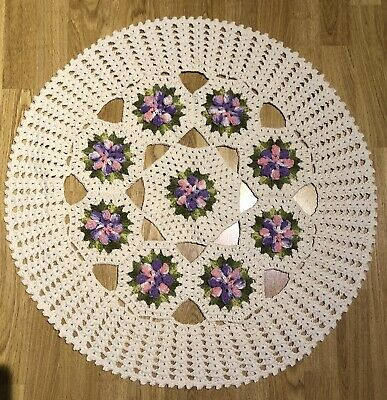 Handmade crochet ivory with pink and green flowers round tablecloth.