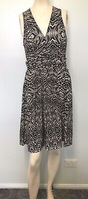 Basque black white gathered waist dress size 8 Women work casual party cocktail