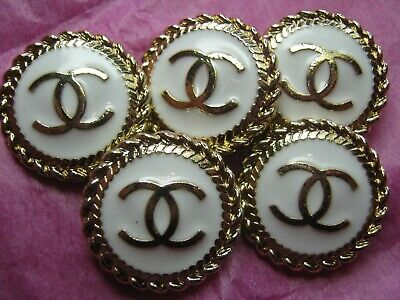 CHANEL  5 CC  LOGO MATTE GOLD  WHITE 20mm BUTTON THIS IS FOR FIVE