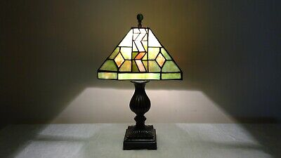 Vintage Tiffany Style Green & Coral Stained Glass Mission Shade /Brown Base Lamp