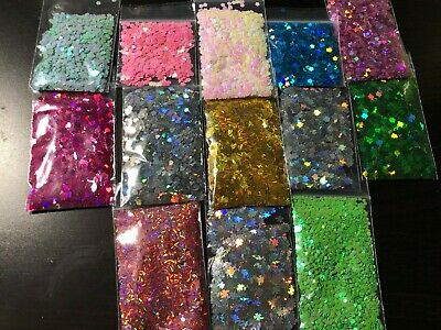 Solvent Resistant Flower/ leaf shape Glitter U Choose Color Nail Art Face Crafts
