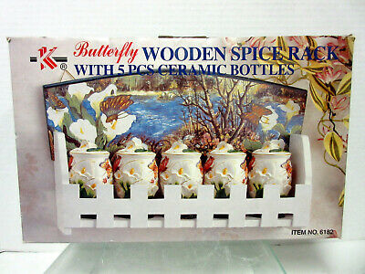 New Butterfly Wooden Spice Rack w 5 Jars For Spices 3-D Butterflies Calla Lily
