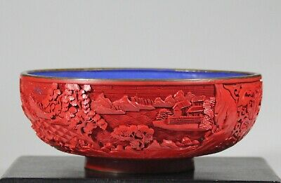 Middle of 20th century Chinese cinnabar lacquer enamel bowl 1173C