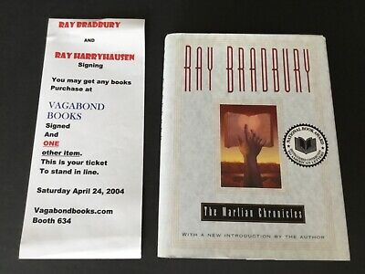 THE MARTIAN CHRONICLES Book Sci-Fi HCDJ Hand Signed In Ink By Ray Bradbury