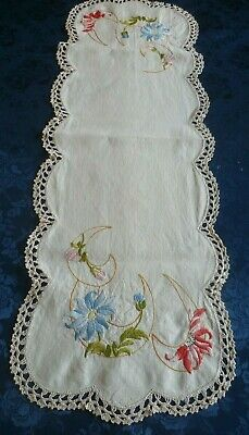 Vintage Hand Embroidered Large Table Runner Floral Design Cream Crocheted Edge