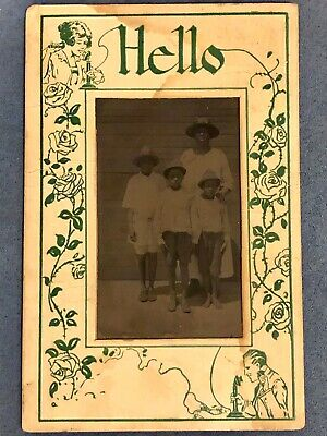 Antique African American Lovely Mother And Children Old Photo Black Americana