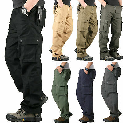 Fashion Men Cargo Pockets Military Army Loose Quality Combat Trousers Work Pants
