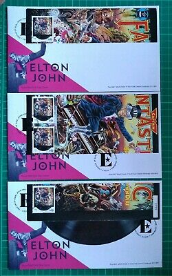 2019 MUSIC GIANTS ELTON JOHN CAPTAIN FANTASTIC SHEET OVER 3 FDC Tallents House