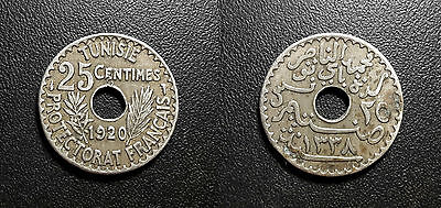 Tunisia - Protectorate French - Muhammad Al-Nasir Bey - 25 Cents 1920 km#244
