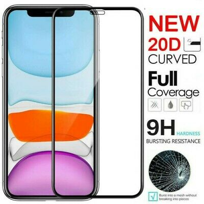 For iPhone 11 Pro X XR XS Max 20D Curved Edge Tempered Glass Screen Protector
