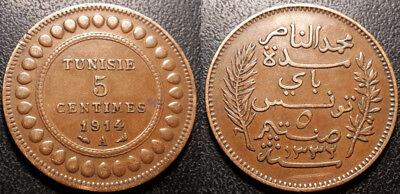 Tunisia - Protectorate French - Muhammad in N, Bey - 5 Cents 1914 A