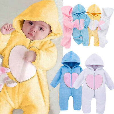 Newborn Infant Boy Girl Romper Hooded Baby Jumpsuit Bodysuit Outfits Clothes USA