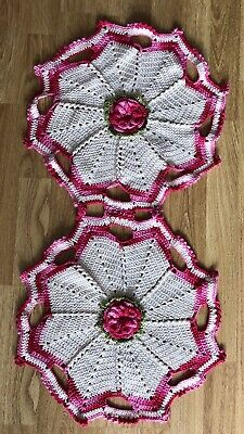 Handmade crochet in ivory and pink table runner.