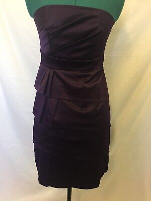 Target strapless purple pleated satin dress size 8 womens cocktail wedding party