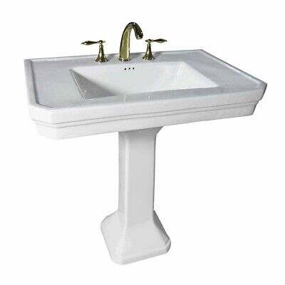 White Large Pedestal Sink for Bathrooms with Widespread Faucet Holes