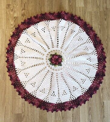 Handmade crochet ivory and wine flower round tablecloth.