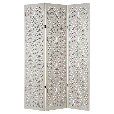 Hartleys 3 Panel White Art Deco Folding Room Divider Partition Privacy Screen