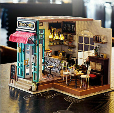 Robotime DIY Dollhouse Kit Miniature Modern Cafe with LED Girls Gift Furnit T8Y5