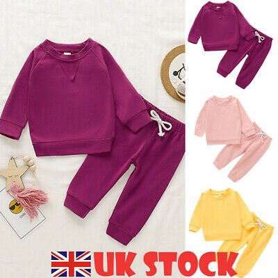 Toddler Infant Kids Baby Girl Clothes T-shirt Top Pants Outfit Sets Tracksuit UK