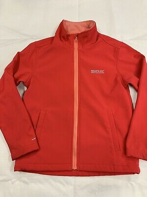 9 10 years GIRLS REGATTA JACKET COAT ANORAK RED ZIP FLEECE LINED SHOWER PROOF