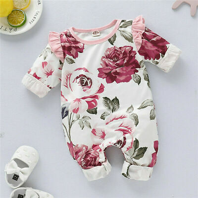 Newborn Baby Girls Floral Romper Bodysuit Jumpsuit Playsuit Long Sleeve Outfit