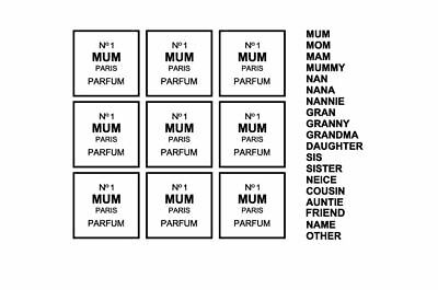 9 Number 1 Mum Nan Vinyl Decals Box Frame Vases Books Craft Candles size 2.5""
