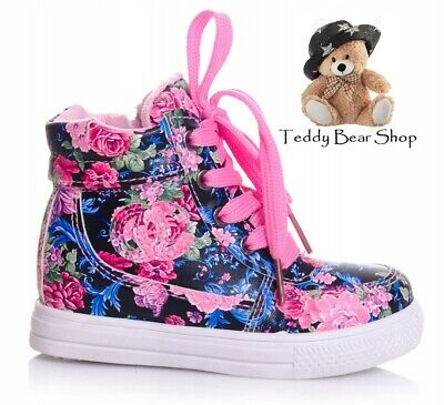 Floral Girls shoes high HI TOP ankle trainers toddler size 8-12 UK KIDS Flower