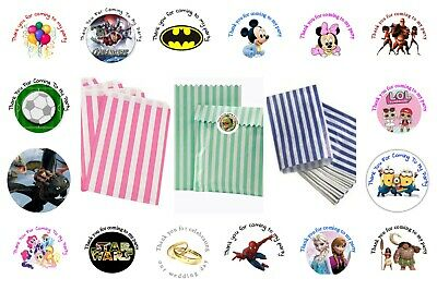 20 x Personalised Paper Sweet Candy Bags With Childrens Party Thank You Stickers
