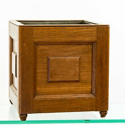 Antique Edwardian Country house Lead Lined Oak Square Planter / Wine Cooler