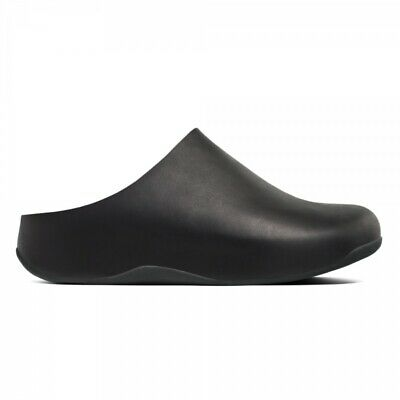 FitFlop SHUV Ladies Womens Genuine Supple Leather Casual Garden Clogs Black