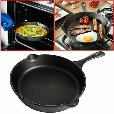 25Cm Cast Iron Non-Stick Frying Griddle Pan Barbecue Grill Fry Pan Bbq Skillet