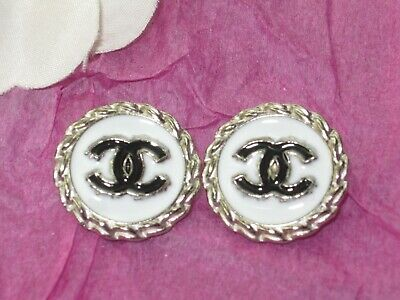 CHANEL  2 CC  LOGO  SILVER WHITE  BLACK  20mm BUTTONS THIS IS FOR TWO