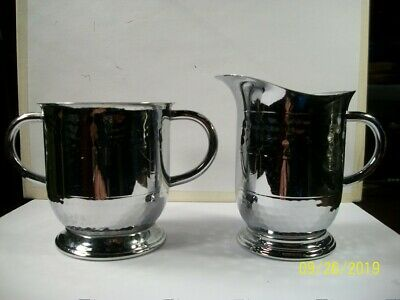 "Vintage; Hand Hammered ""Stainless Chrome"" Sugar Bowl and Creamer Pitcher ""NICE"""