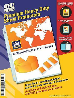 """Heavy Duty Clear Sheet Protectors, 8.5"""" x 11"""", 100 Pack"""