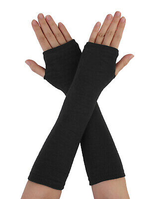 Woman Lady Black Knitted Acrylic Fingerless Long Gloves Arm Warmers 1 Pair