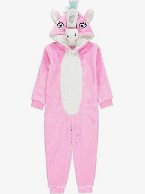 Girls Unicorn Hooded One Piece - Fleece - Pink - Size 11-12 Years