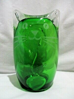 Studio Art Glass Hollow Cat Figurine Signed JK Clear Emerald Green 6""