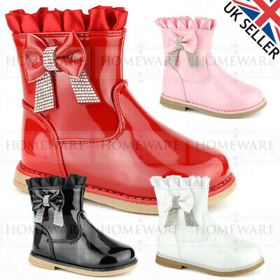 Girls Spanish Style Diamante Bow Boots Patent Red Black Pink White Kids Uk4-8