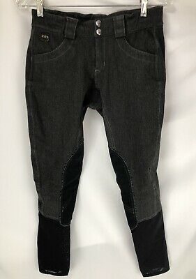 FITS Knee Patch Breeches Riding Pants Tights Womens Size Small Dark Grey
