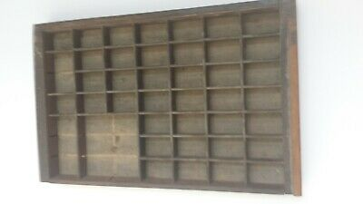 Vintage Small Printers Type Set Cabinet Wood Drawer Tray Display Shadowbox
