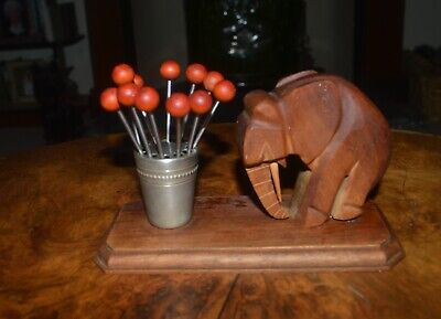 French Art Deco Elephant with red wooden cocktail sticks-Dan Karner style