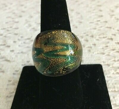 Vintage Hand Blown Glass Ring - Green, Gold, Purple Size 8
