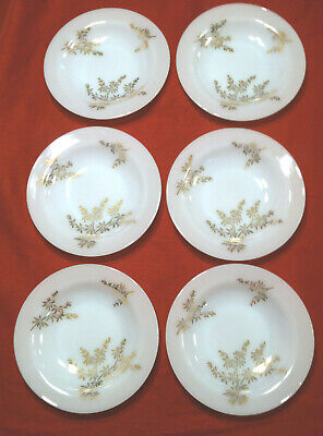 Set 6 Federal Glass Golden Glory soup/salad bowls white w/ gold leaves glassware