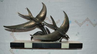 Original 1930s Art Deco Large sculpture of two birds in flight on marble base