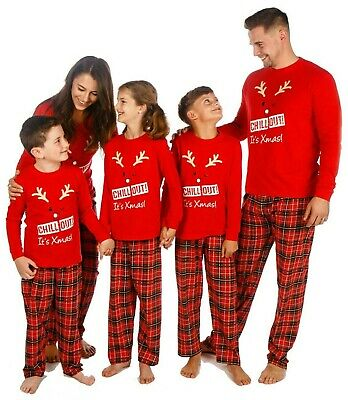 Family Christmas Matching Pyjamas Mens Ladies Boys Girl Baby Chill Out is Xmas!