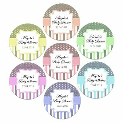 48 x BABY SHOWER PERSONALISED STICKERS LABELS PARTY NAME FAVOURS DECORATIONS