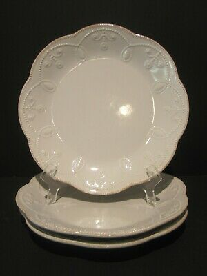 """Set of 3 Lenox French Perle White 9"""" Accent Luncheon Plates"""