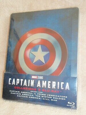 Captain America Trilogy SteelBook [Blu-ray: Region Free, Embossed, 1/4 Slip] New
